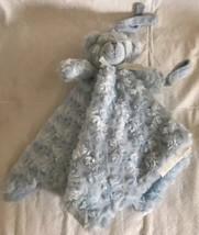 Blankets & Beyond Baby Lovey Blanket Bear Blue Rosette Swirl Pacifier Ho... - $15.99