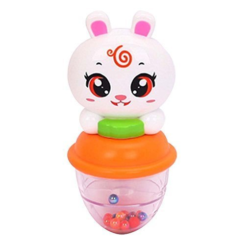2 Pcs Colorful Cartoon Rabbit Baby Plastic Rattles Hand Bell Infant Toys