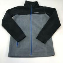 Columbia Fleece Jacket Junior L Gray Black Full Zip Up Stand Up Neck Insulated - $19.99