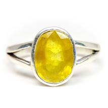 Genuine Yellow Sapphire Silver Ring 7 Carat September Gemstone Jewelry F... - $54.05