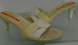 Prada Sz 38.5 Adjustable Open Slides Sandals Heel Platform Beige&White I... - $64.79