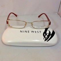Nine West Women's Eyeglass Frames Hard Case Satin Light Gold Orange Legs New - $29.99