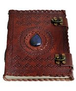 """Handmade Large 8"""" Embossed Leather Journal Celtic two latches blue stone... - $25.74"""