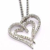 SILVER 925 NECKLACE, CHAIN GRUMETTE, PENDANT PENDANT DOUBLE HEART, ZIRCON image 1