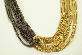 OROTON Gold n Black Chain Multi Strand Necklace Twist Sparkle Curb Uniqu... - $24.70