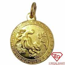 New Yellow Gold on Silver Pendant Round tiger zodiac and fortune - $29.91