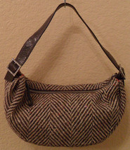 KATE SPADE Brown & Cream Houndstooth Wool Shoulder Bag Handbag $395 - $148.50