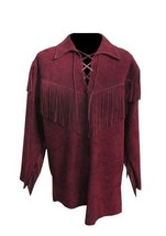 QASTAN MEN'S NEW BURGUNDY MOUNTAIN MAN FRINGE BUCKSKIN SUEDE LEATHER SHIRT PO446 - $137.61 - $157.41
