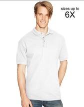 White Polo Shirt Hanes ComfortSoft L Men's Adult Cotton Pique Short Sleeve New - $15.65