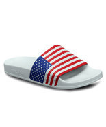 New Mens Adidas Originals USA adilette Flag Slides White Red Blue Flag D... - $47.84