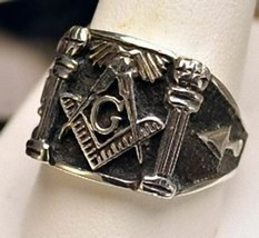 New Real Solid STERLING SILVER 925 Heavy free mason MASONIC RING Size 9 ... - $47.99