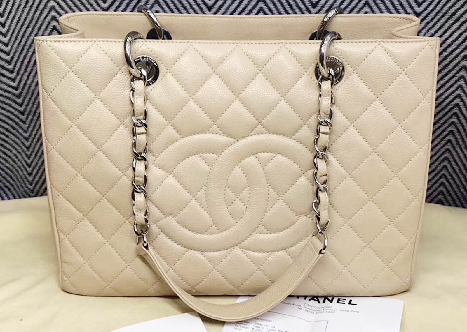 AUTHENTIC CHANEL QUILTED CAVIAR GST GRAND SHOPPING TOTE BAG BEIGE SHW RECEIPT