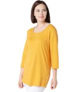 Denim & Co. Essentials Medium Scoop-Neck 3/4-Sleeve Tunic Sunset Gold M - $13.99