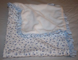 Carters Baby Blanket PRETTY BLUE Flower DAISY Floral Ruffle Trim White P... - $29.99 CAD