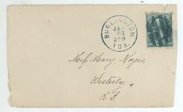 2c Washington Scott 213 Cover Burlington IA - Westerly RI Blue Postmark ... - $6.99