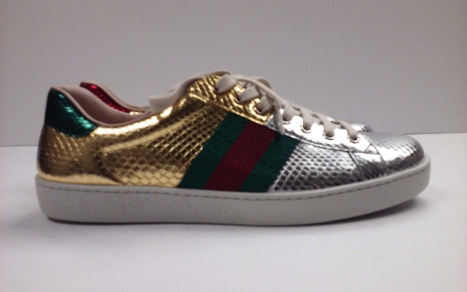 71ecabd09e5 P-374311 New Gucci Ayers Lam Gold Silver Red Green Sneaker US