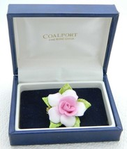 VTG Coalport Fine Bone China ENGLISH Pink Porcelain Flower Pin Brooch - $36.43