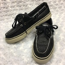 Sperry Top Sider Black Glitter Bahama Boat Shoe Patent Loafer Flats Womens 6M - $23.36