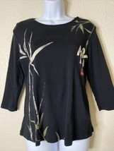 """Jess & Jane Womens Size S Back Asian Bamboo """"Wind Song"""" T-Shirt 3/4 Sleeve - $19.80"""