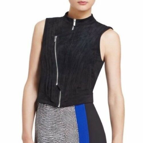 BCBG Maxazria Vest Damien Faux Suede zippers women size XXS