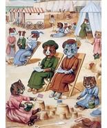 Cats on the beach by Louis Wain pet kitten Accent Tile Mural Kitchen Bat... - $15.00