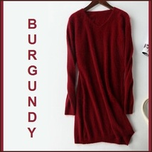 Ladies Soft Mink Cashmere Long Sleeve Burgundy V-Neck Mini Sweater Shirt Dress image 1