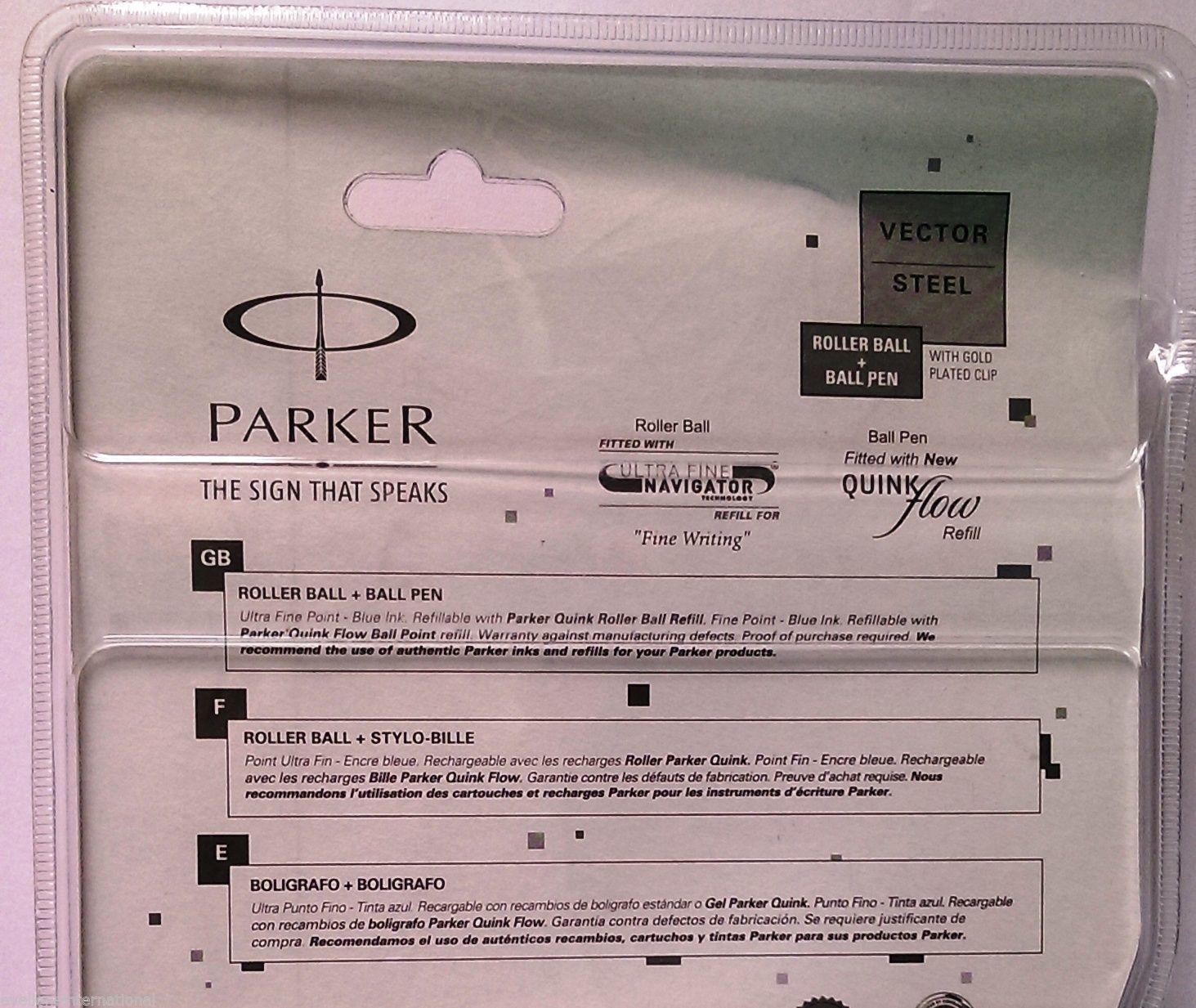 Parker Gift Set Vector Steel Roller Ball & Ball Pen Gold Clip