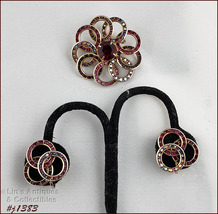 Vintage Red Rhinestones Pin and Matching Earrings (#J1383) - $50.00