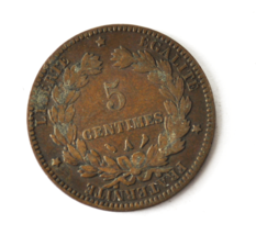 1897 A France 5 Five Centimes KM# 821.1 Bronze Coin  image 2