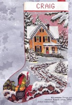 Candamar Country Christmas Scene Snowy House Home Needlepoint Stocking K... - $132.95