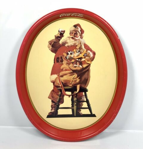 "Primary image for Vintage 1987 Coca-Cola Santa Tin Metal Serving Tray Coke 15"" x 12.5"" - Christmas"