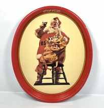"Vintage 1987 Coca-Cola Santa Tin Metal Serving Tray Coke 15"" x 12.5"" - C... - $28.45"