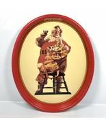 "Vintage 1987 Coca-Cola Santa Tin Metal Serving Tray Coke 15"" x 12.5"" - C... - $28.45"