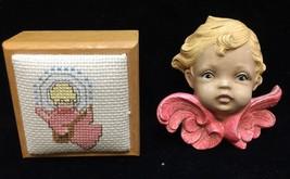 Angel Trinket Box Needlepoint & Cherub Head Ceramic Hanging Figurine Lot... - $14.84