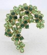 VTG 1961 CROWN TRIFARI Gold Green Rhinestone Leaf Flower Pin Brooch - $123.75