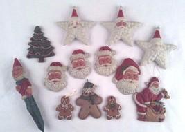 Lot Folk Art Santas Gingerbread Men 13 Ornaments Christmas Tree Elf Wood... - $19.79