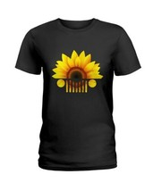 Sunflower Jeep Car Ladies T-Shirt Black S-3XL Made in USA - $18.76+