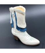 VINTAGE COWBOY BOOT SHOE LADIES WOMENS FIGURINE JPC DO SI WHITE BLUE TAS... - $24.75