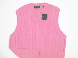 NEW! NWT! $175 Bobby Jones Collection 100% Cotton Cable Knit Vest! M *Pink* - $99.99