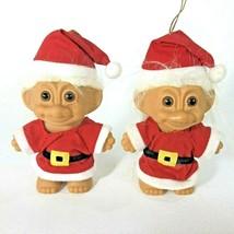 "2 Xmas RUSS TROLL Elf in Santa Suit 4"" Tree Ornament Figurine Gnome Elve... - $18.66"