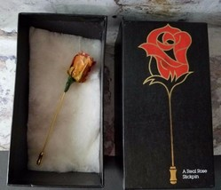 Vintage Chrystalle Stickpin Real Rose 979 Flowers Original Box - $9.98
