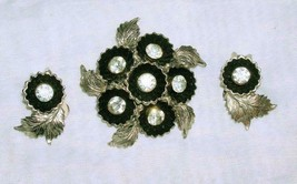 Vintage Black & Rhinestone  Flower Brooch Pin & Clip On Earrings - $24.54
