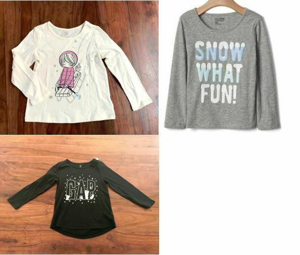 Gap Kids Girls T-shirt 4 4T Cream Gray Black Graphic Snow Winter Long Sleeve New