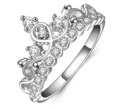 Princess Crown Shaped Finger Ring High Quality Fashion Silver Color Meta... - $15.29
