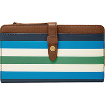 Fossil Fiona Tab Clutch Blue Stripe MSRP $75 - $35.53