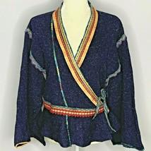 Anthropologie Moth Corn Wind Kimono Cardigan M Blue Surplice Wrap Sweate... - $49.45