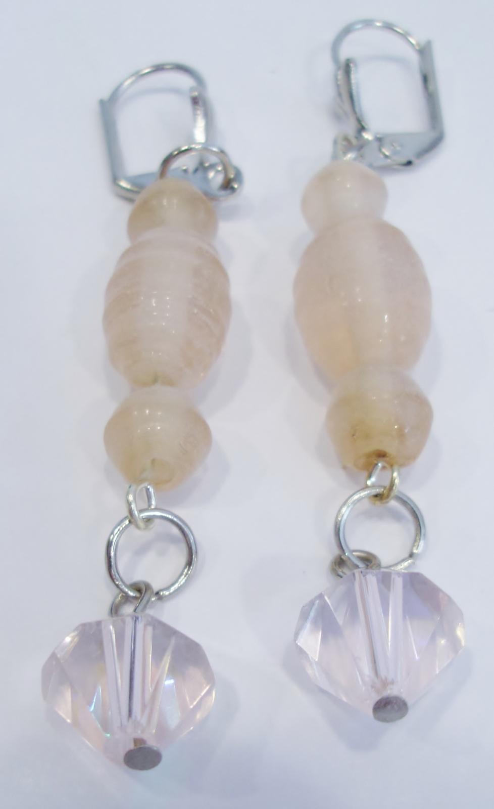 handmade peach glass bead and crystal drop earrings