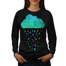 Shower Cloud Rain Jumper Artsy Raining Women Sweatshirt - $18.99