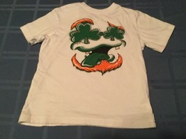 St Patricks Day Size 5  6  Place shirt short sleeve white green top boys - $10.29