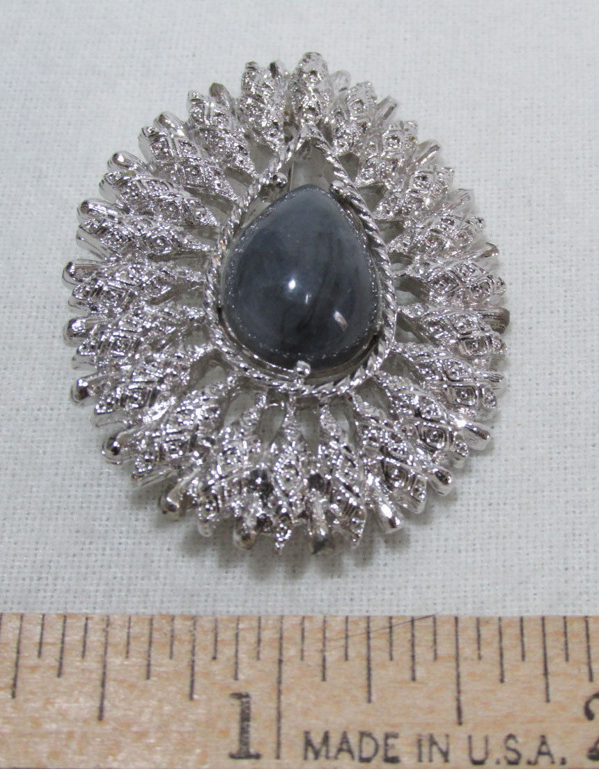 Coventry Teardrop Brooch Pin Gray Synthetic Stone Silver Tone Jewelry